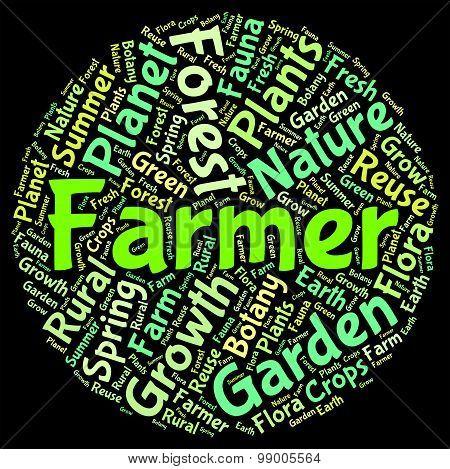 Farmer Word Means Agriculture Farmstead And Words