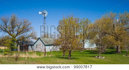 Old Windmill, Blue Farm Buildings, Spring, Minnesota