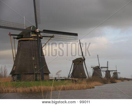 Dutch Windmills In Kinderdijk 1