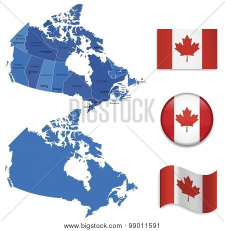 High Detailed Map of Canada With Flag Icons