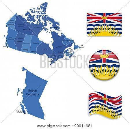 Canada-British Columbia-Map and Flag Collection
