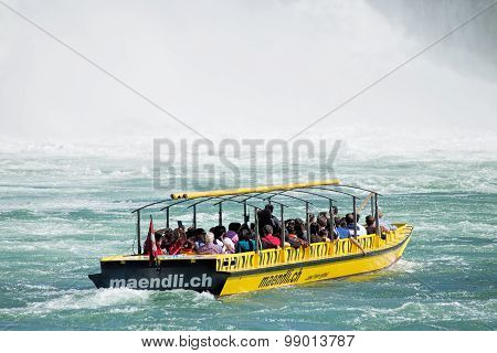 Boat At The Rhine Falls