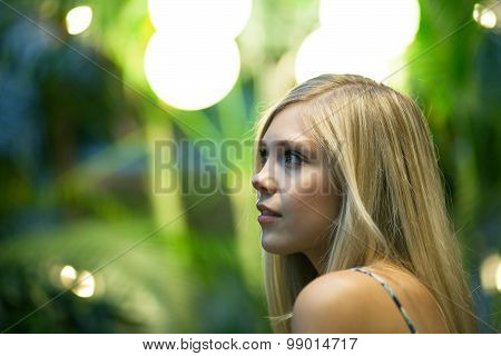Contemplative Blonde Woman