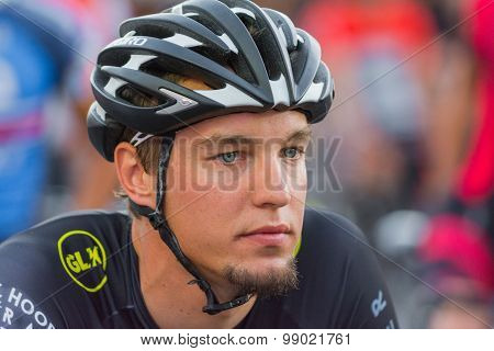 Cyclist Concentrating Before Bike Race
