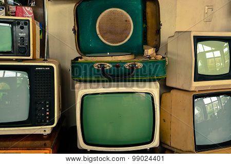 Soviet Retro Tvs And Record-player