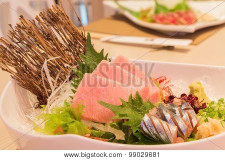 Otoro sashimi (Maguro) and shin samma sashimi Japanese style food