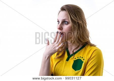 Brazilian fan apprehensive on white background
