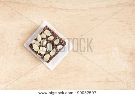 Freshly baked Home made chocolate brownie with almond.