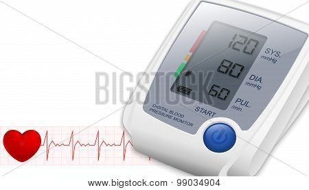 Blood Pressure Monitor With Space For Text And Heartbeat, Vector