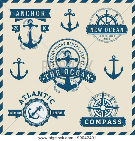 Nautical, Navigational, Seafaring and Marine insignia logotype vintage design