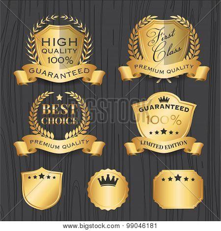 Set of Golden Premium Badges Label Template