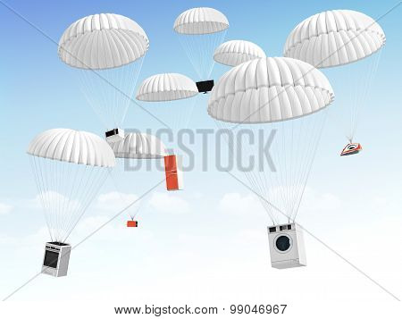 Concept Of Big Sales. Technique On The Parachute Falling In The Sky.