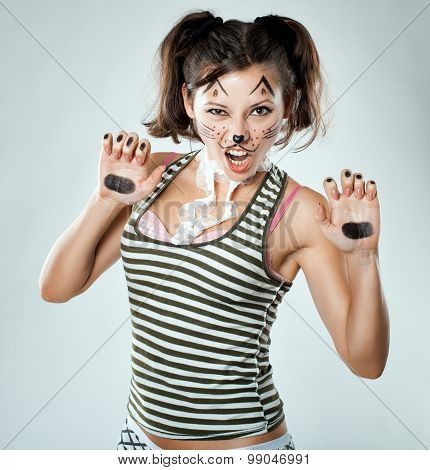 Girl Painted Like A Cat, The Picture Is  Joke.