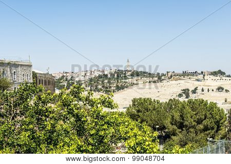 View of Bethlehem and olive mountain- the birthplace of Jesus Christ