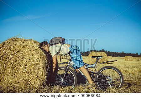 Suddenly tired guy in the bike