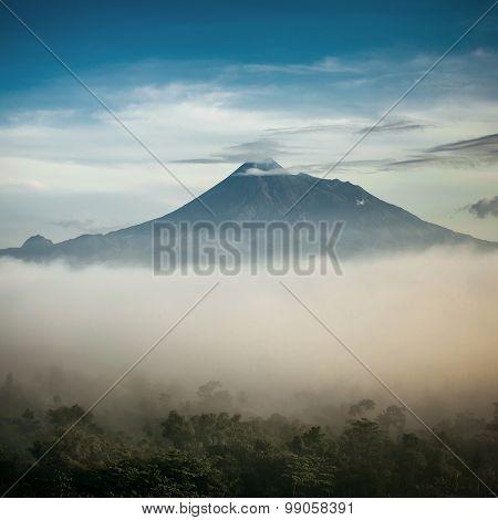 Mountain Merapi volcano, Java, Indonesia. Retro stylised photo