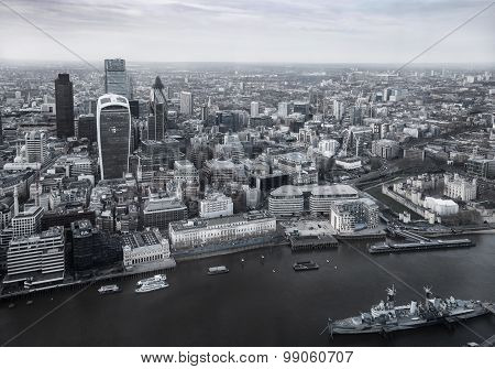 LONDON, UK - APRIL 15, 2015: City of London panorama, office and banking district arial view