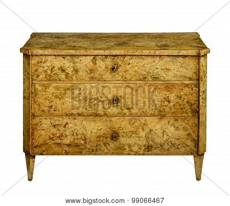 Old retro style chest of drawers with lovely veneer wood isolated with clipping path on white poster