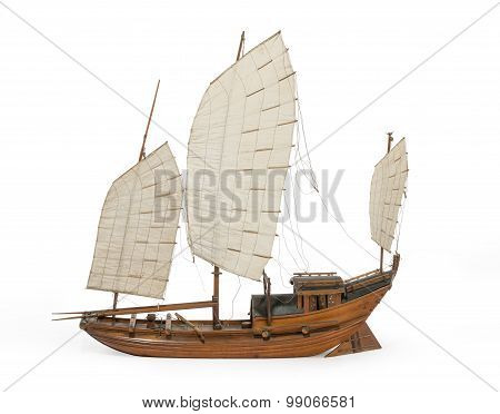 Model Chinese Or Indian Junk Boat Isolated On White