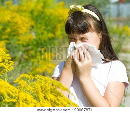 Girl Is Blowing Her Nose