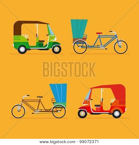Indian rickshaw. Auto rickshaw and pedicab