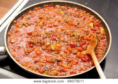 Pan With Sauce Bolognese