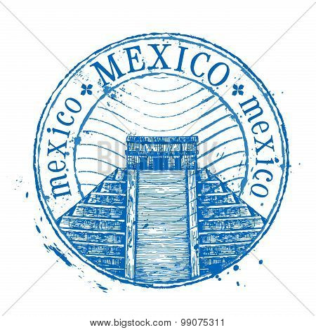 Mexico vector logo design template. Shabby stamp or pyramid icon