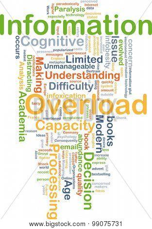 Background concept wordcloud illustration of information overload poster