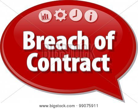 Speech bubble dialog illustration of business term saying Breach of Contract poster