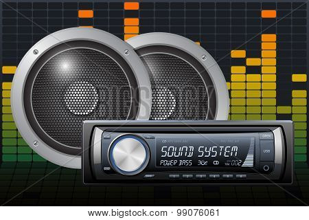 Car Audio With Speakers On The Digital Equalizer Background