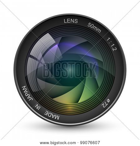 Front view of photo camera lens vector illustration isolated on white background.