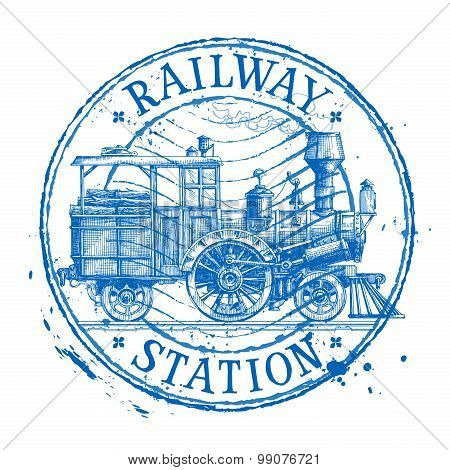 Steam train vector logo design template. Shabby stamp or locomotive icon