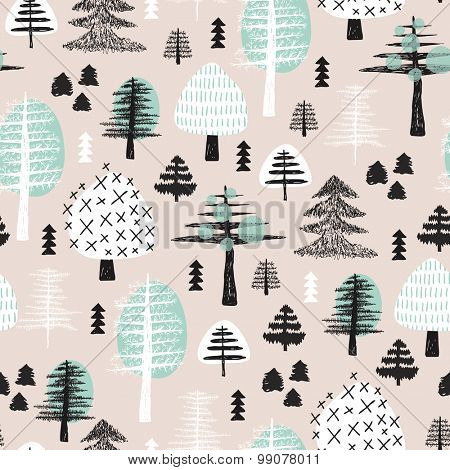Seamless scandinavian style illustration forest tree christmas theme background pastel powder mint blue pattern in vector