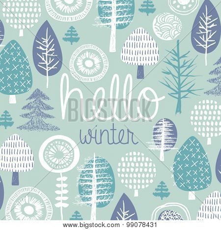 Hello winter leaves forest christmas tree garden illustration postcard cover design template typography background pattern in vector