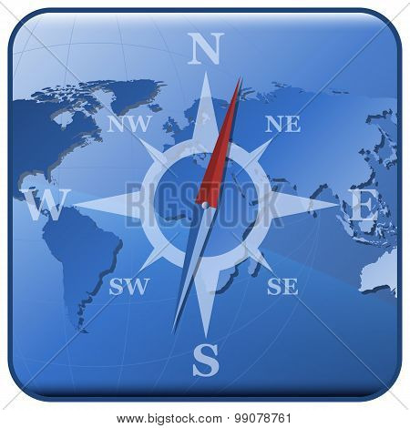 Vector World Map And Stylized Compass Icon