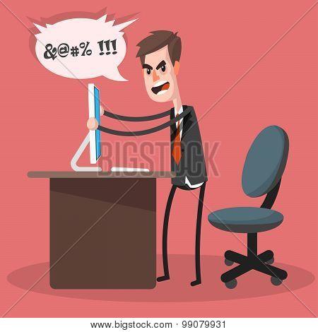 Businessman Computer Crashes