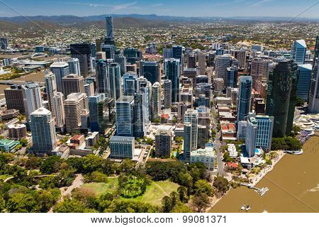 BRISBANE, AUSTRALIA - NOVEMBER 11 2014: View of Brisbane from air over the river. Brisbane is the capital of QLD and the third largest city in Australia. November 11, 2014 Brisbane, Australia