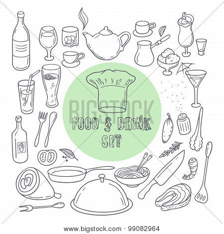 Food And Drink Outline Doodle Icons. Set Of Hand Drawn Kitchen Elements
