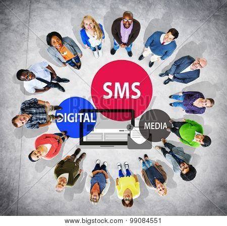 SMS Digital Media Message Chatting Communication Concept poster