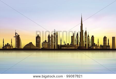Dubai city skyline at sunset