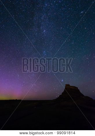 Lindisfarne Castle And Northern Lights