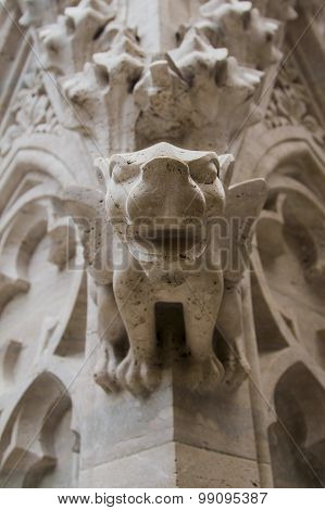 Gargoyle, detail on the facade of the cathedral in Zagreb Croatia poster