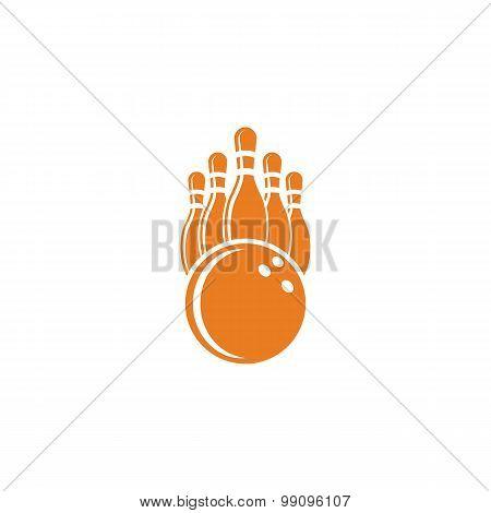 Bowling Logo Mockup, Bowling Ball And Pins, Sport Tournament Emblem