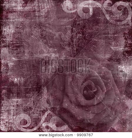 Vintage Floral Grunge Scrapbook Background with rose