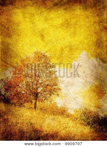 golden fall in grunge style