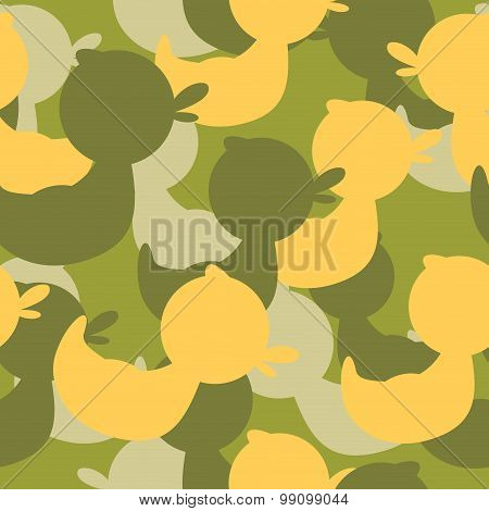 Military Camouflage Ducks. Military Vector Texture. Soldier Protective Seamless Pattern