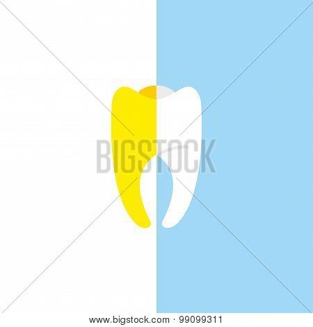 Vector Illustration For Bleaching Teeth. Half White, Half Tooth Teeth Yellow.