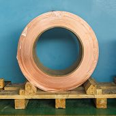 Copper rolled product or copper foil (sheet) in storage area, conductor raw material for transformer manufacturing poster