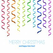Vector Christmas card with serpentine. Merry Christmas and happy New Year! Rainbow serpentine pattern for congratulation. Template for congratulation poster