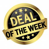 golden button with banner and text Deal Of The Week poster